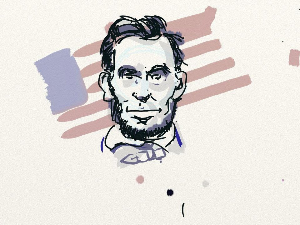 "Todd Pendleton, art director for The Oklahoman, ""sketched"" this artwork within a few minutes on the iPad 2 using the ArtRage mobile application and the GoSmart Freedom Stylus. <strong></strong>"