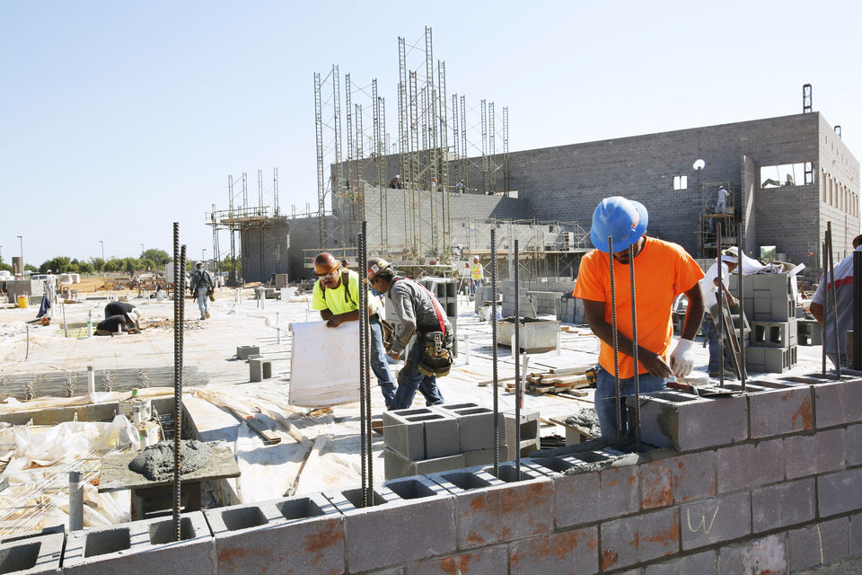 Work continues on the new swim complex at Mitch Park in Edmond, Friday,  October 2, 2012. Photo By Steve Gooch, The Oklahoman