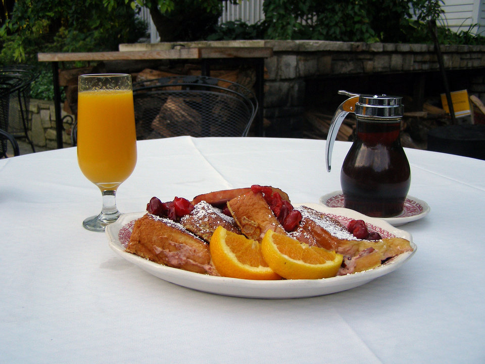 Cherry stuffed French toast is a highlight of breakfast at the White Gull Inn in Door County. <strong> - Amy Raymond, The Oklahoman</strong>