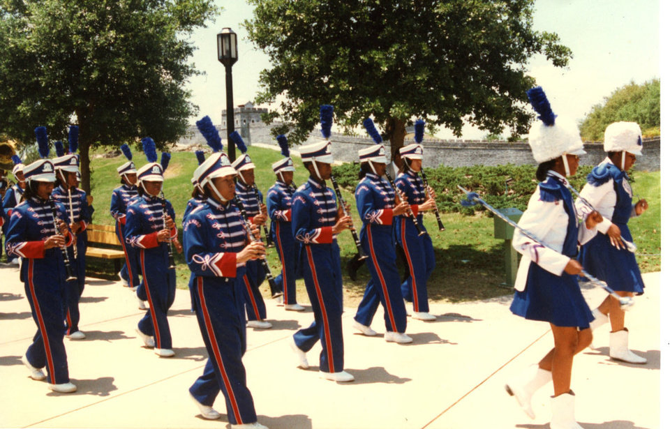 In this vintage photograph from the 1990s, members of the Millwood High School marching band march during an out-of-state band field trip. Photo provided <strong></strong>