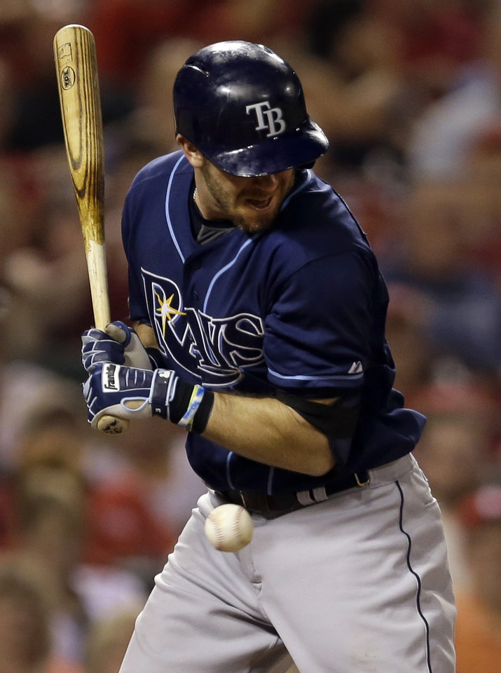 Photo - Tampa Bay Rays' Evan Longoria is hit by a pitch during the fifth inning of a baseball game against the St. Louis Cardinals Tuesday, July 22, 2014, in St. Louis. (AP Photo/Jeff Roberson)