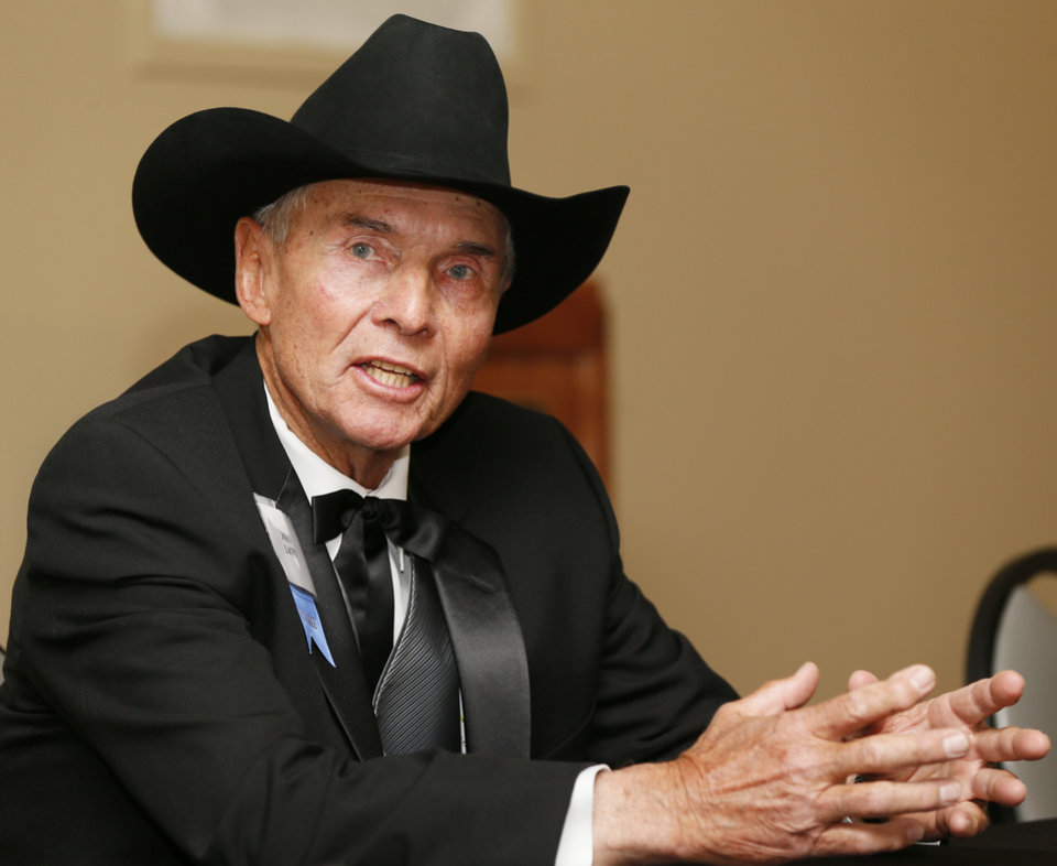 Photo - Honoree John Lacey speaks during the press conference before the Western Heritage Awards at the National Cowboy  & Western Heritage Museum in Oklahoma City, Saturday, April 20, 2013. Lacey is being inducted into the Hall of Great Westerners. Photo by Nate Billings, The Oklahoman