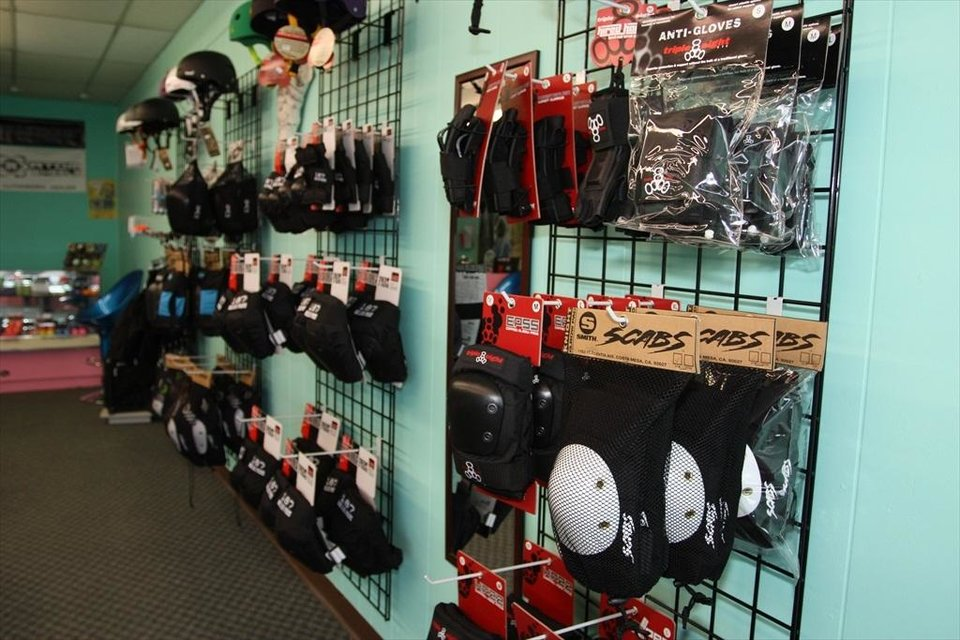 Gear for sale at Switchblade Skate Co., located at 2132 Interstate 240 Service Road, is shown.  PROVIDED