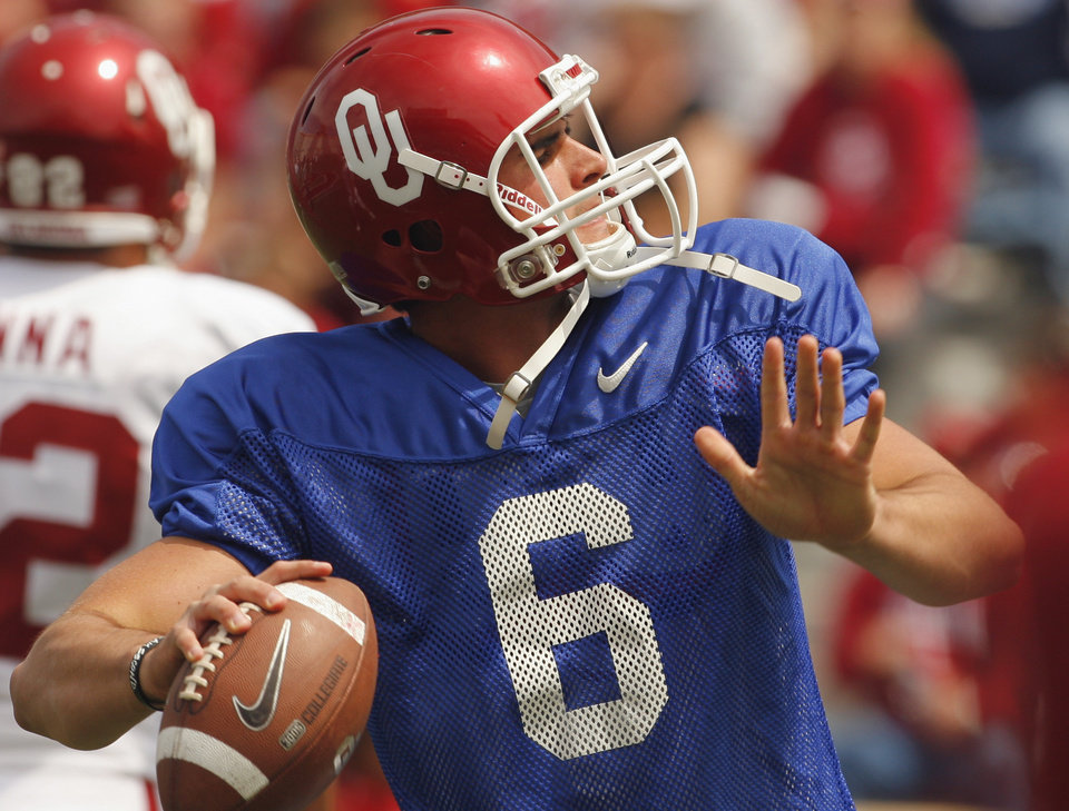 Photo - Quarterback Ben Sherrard (6) warms up before the University of Oklahoma Sooner's (OU) Spring Football game at Gaylord Family-Oklahoma Memorial Stadium on Saturday, April 16, 2011, in Norman, Okla.  