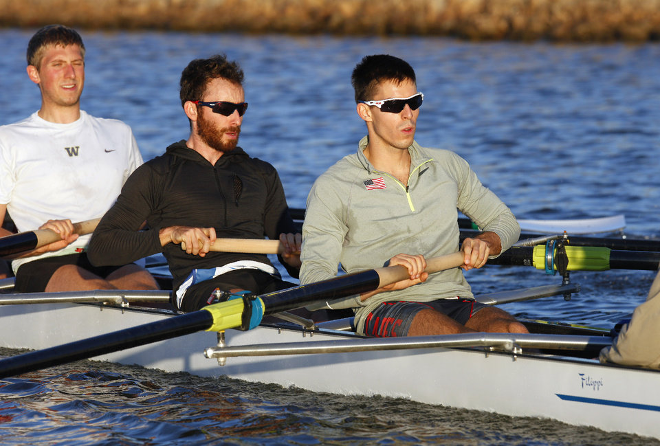 Robin Prendes, at right sitting in the stroke seat, practicing for the Oklahoma Regatta on the Oklahoma River in Oklahoma City Tuesday, Oct. 1, 2013.  Photo by Paul B. Southerland, The Oklahoman