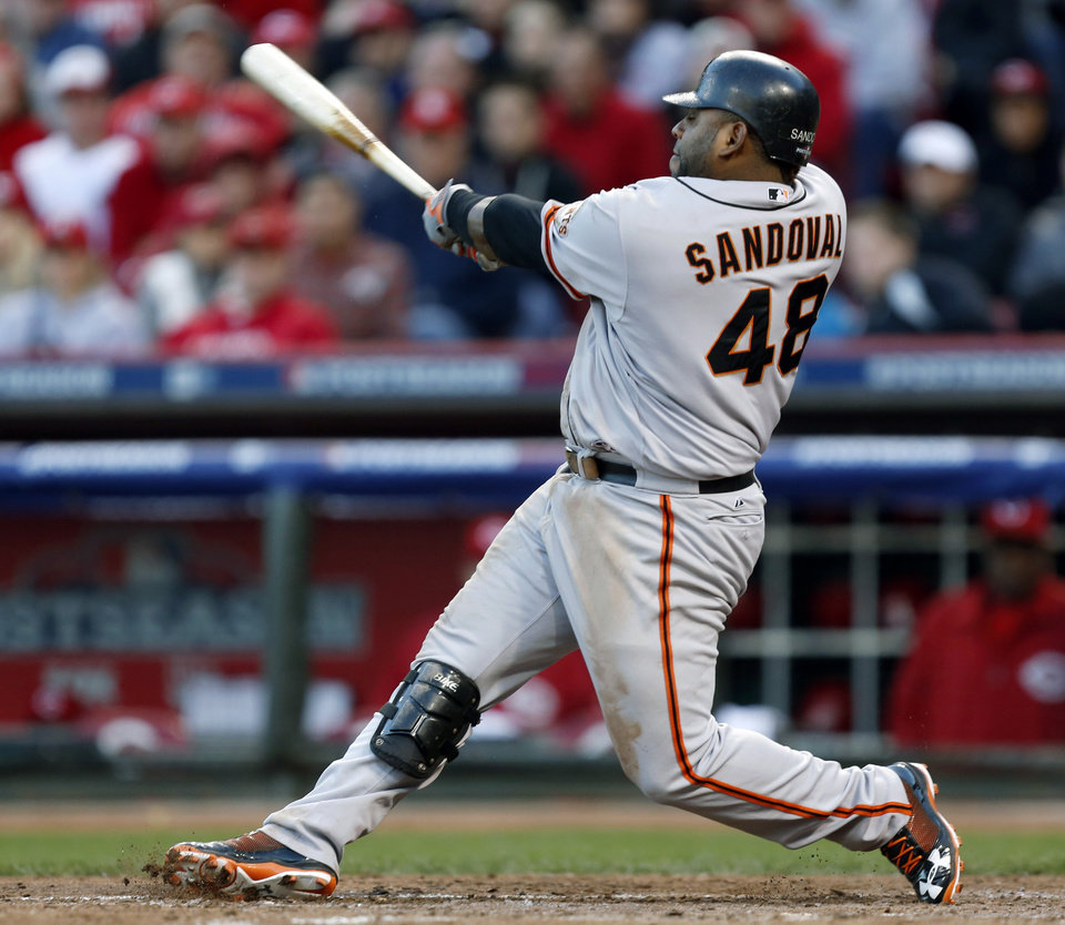 Photo -   San Francisco Giants' Pablo Sandoval hits a two-run home run in the seventh inning of Game 4 of the National League division baseball series against the Cincinnati Reds, Wednesday, Oct. 10, 2012, in Cincinnati. (AP Photo/David Kohl)