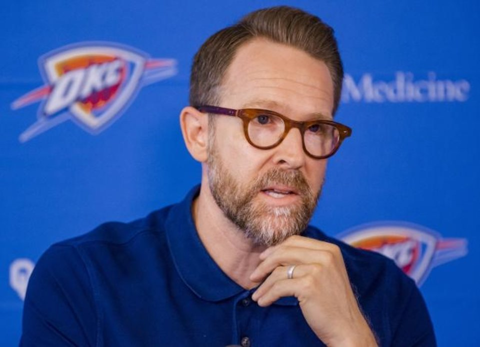 Photo -  General manager Sam Presti and the Thunder stood pat at Thursday's NBA trade deadline. [Chris Landsberger/The Oklahoman]