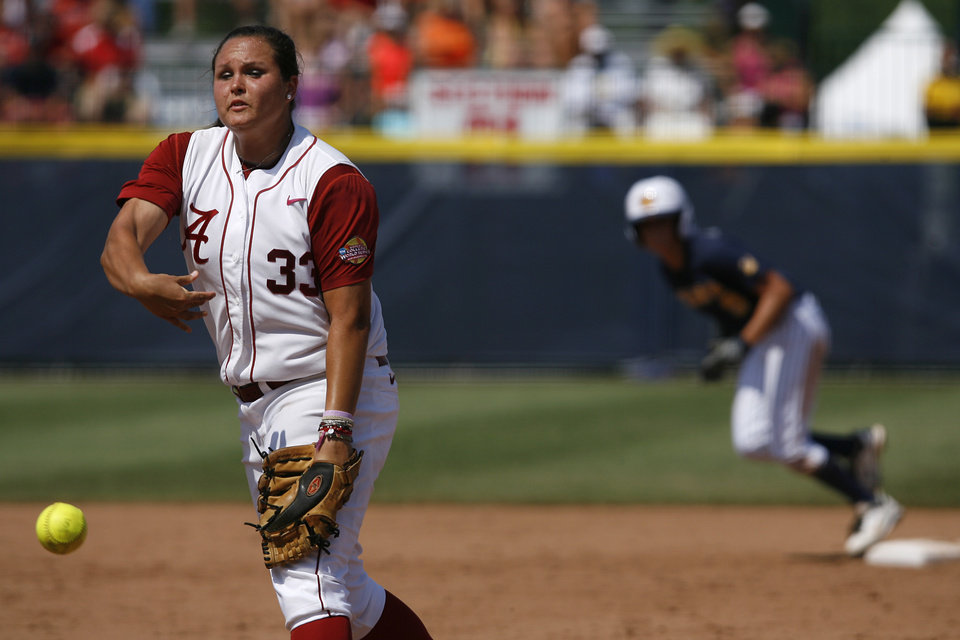 Alabama's Jackie Traina (33) pitches during a Women's College World Series game between Alabama and California at ASA Hall of Fame Stadium in Oklahoma City, Sunday, June 3, 2012.  Photo by Garett Fisbeck, The Oklahoman