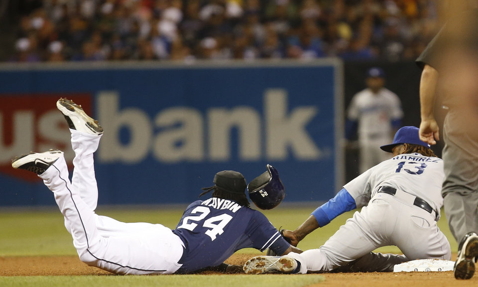 Photo - San Diego Padres' Cameron Maybin is picked off of second base as Los Angeles Dodgers' Hanley Ramirez makes the tag in the eighth inning of a baseball game Saturday, Aug. 30, 2014, in San Diego.  Maybin, who was pinch running, was picked off  by Dodgers' catcher Drew Butera for the first out of the inning . (AP Photo/Lenny Ignelzi)