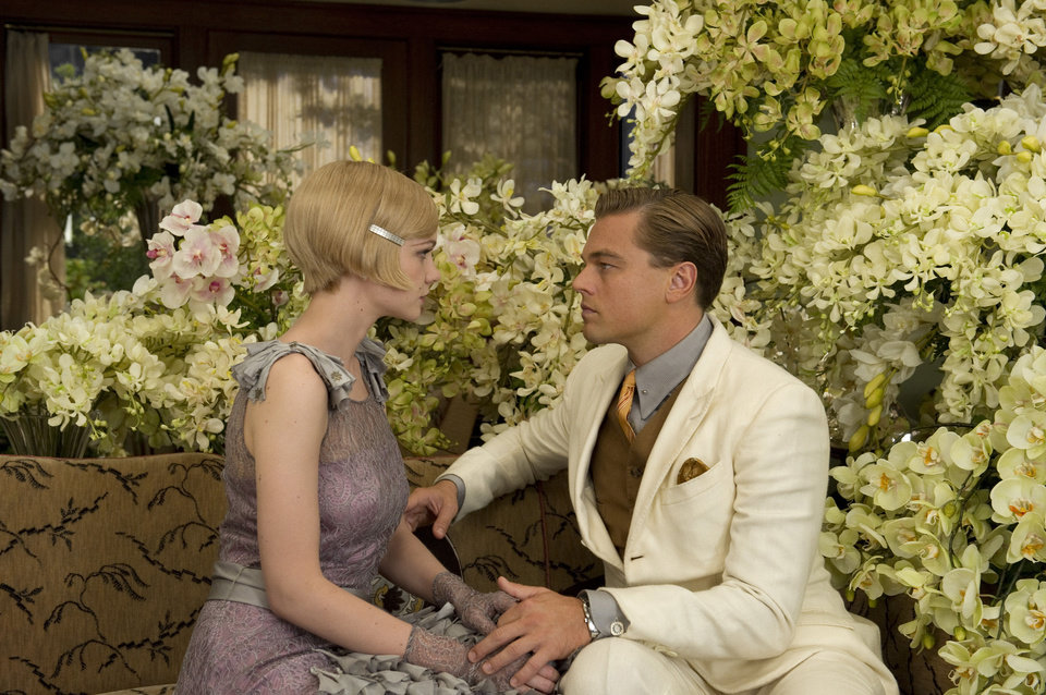 Carey Mulligan as Daisy Buchanan and Leonardo DiCaprio as Jay Gatsby in