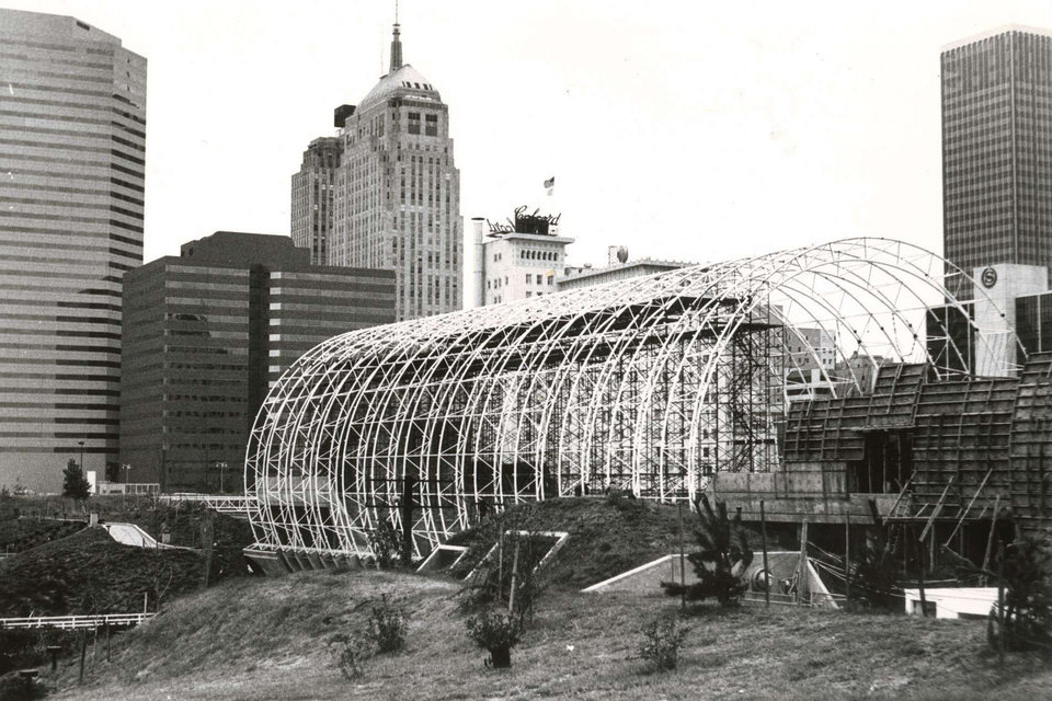 The steel skeleton of the Crystal Bridge at Myriad Gardens is shown in this undated photo from the early 1980s. Photo provided