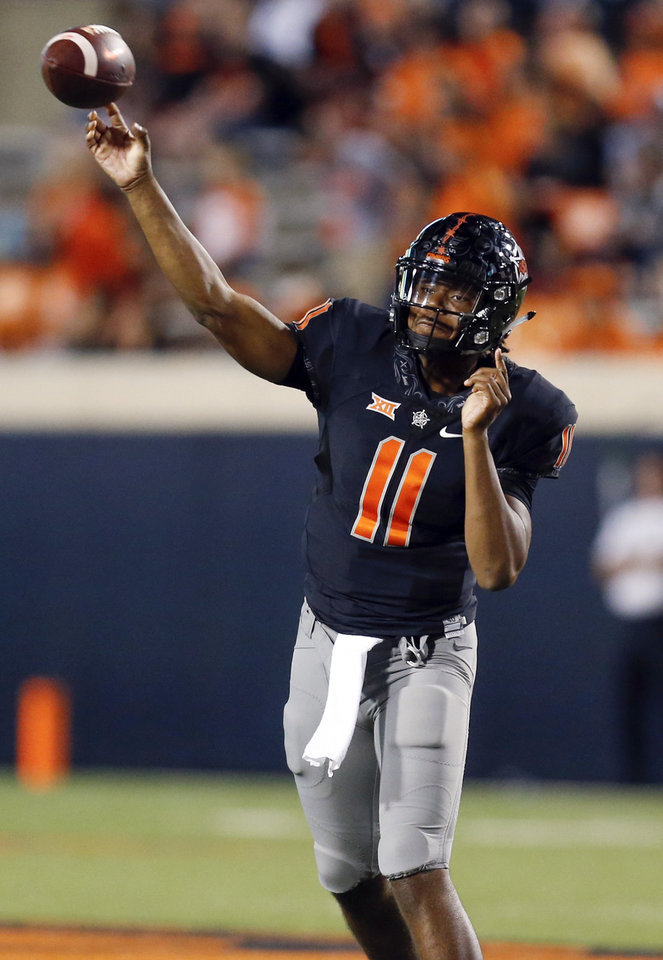 Photo - Oklahoma State's Keondre Wudtee (11) passes in the fourth quarter during a college football game between Oklahoma State (OSU) and South Alabama at Boone Pickens Stadium in Stillwater, Okla., Saturday, Sept. 8, 2018. Photo by Nate Billings, The Oklahoman
