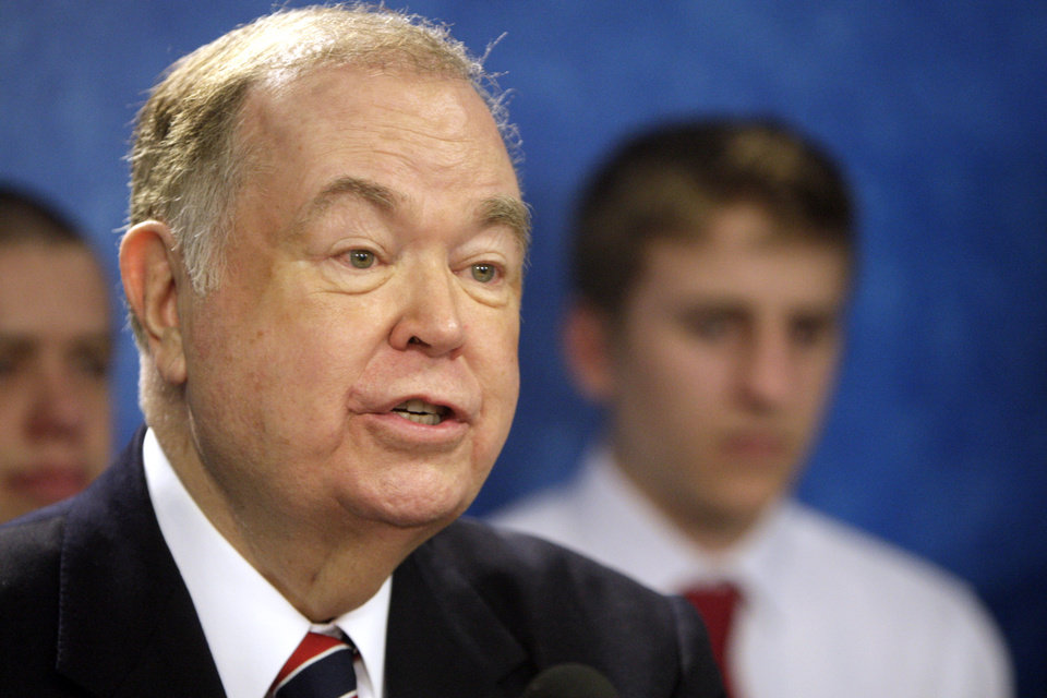 Former governor David Boren talks about the Americans Elect signatures to be given to the election board at the state Capitol, Tuesday, Feb. 28, 2012. Photo by Sarah Phipps, The Oklahoman