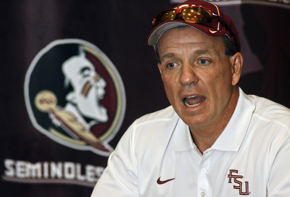 Photo - Florida State coach Jimbo Fisher likes what he's seen from his second-teamers. AP photo