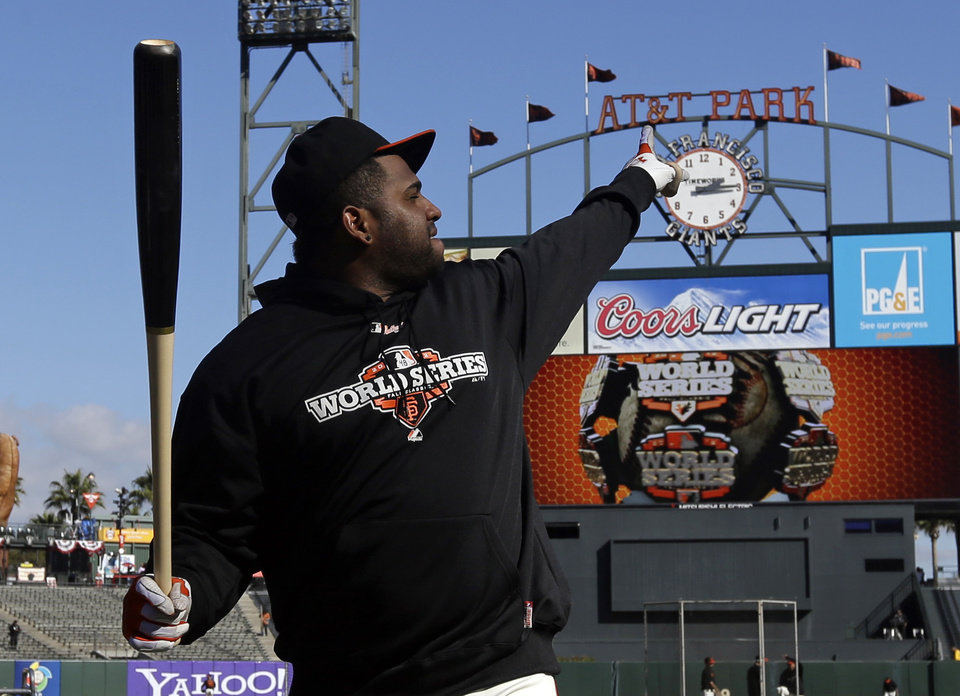 Photo -   San Francisco Giants' Pablo Sandoval waits to take batting practice before Game 2 of baseball's World Series against the Detroit Tigers Thursday, Oct. 25, 2012, in San Francisco. (AP Photo/Marcio Jose Sanchez)