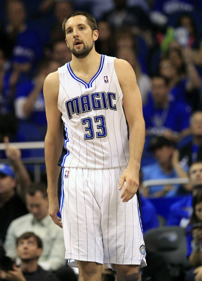 Photo -   Orlando Magic's Ryan Anderson (33) walks on the court after his team lost possession of the ball to the Indiana Pacers during the second half of Game 3 of an NBA first-round playoff basketball series, Wednesday, May 2, 2012, in Orlando, Fla. Indiana won 97-74. (AP Photo/John Raoux)