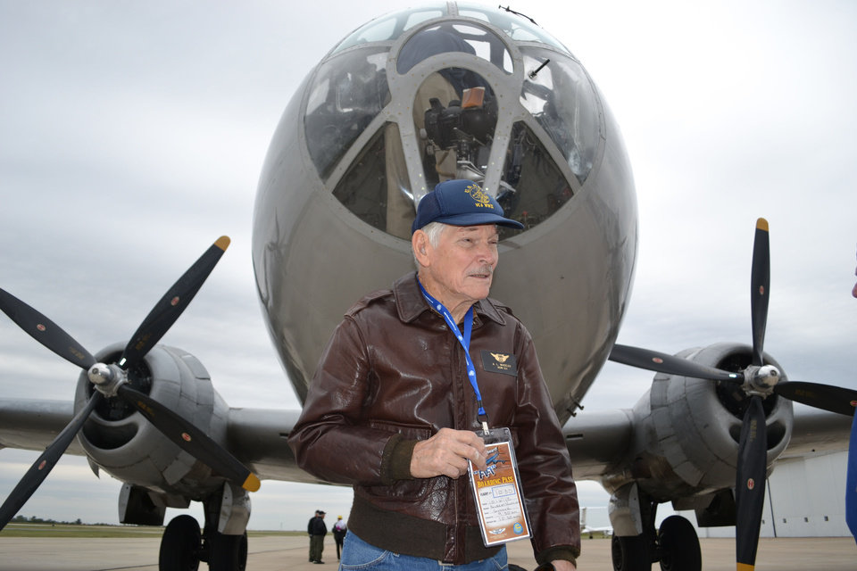 Albert Wheeler, 88, prepares to board the B-29 Superfortress known as FIFI on Saturday at Wiley Post Airport in Bethany. Photo by Zeke Campfield, The Oklahoman <strong>Zeke Campfield - Zeke Campfield</strong>