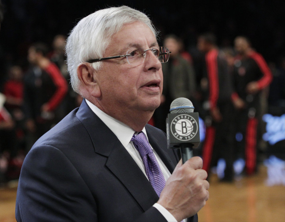 Photo - NBA Commissioner David Stern speaks before an NBA basketball game between the Brooklyn Nets and the Toronto Raptors, Saturday, Nov. 3, 2012, in New York. (AP Photo/Frank Franklin II) ORG XMIT: NYFF108
