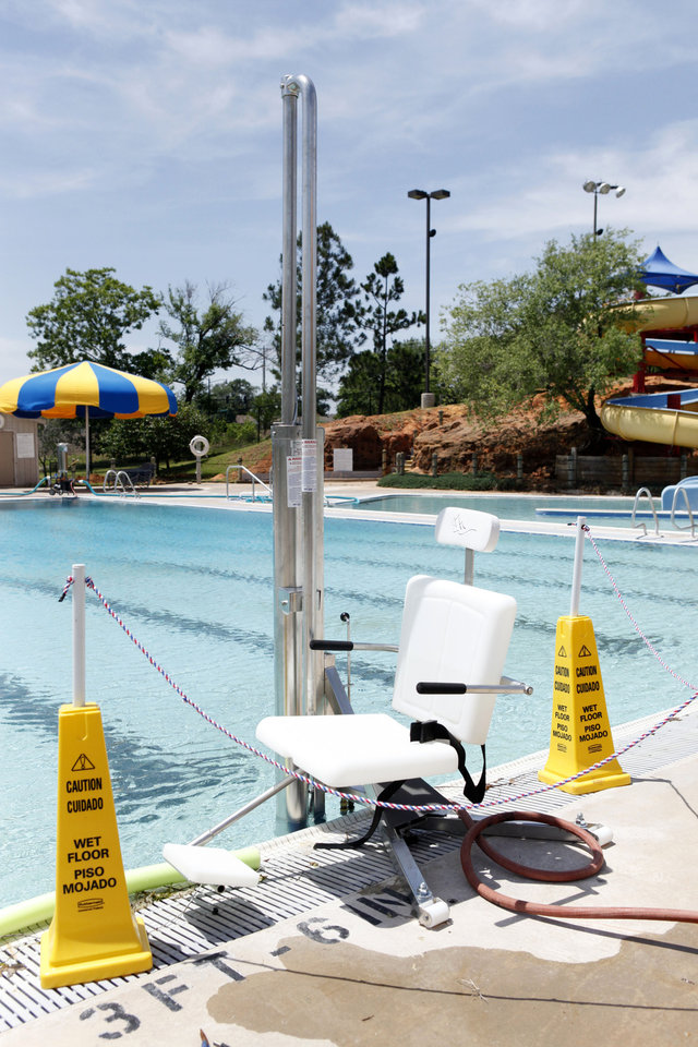 This is the new handicapped insertion chair at Pelican Bay Aquatic Center in Edmond, OK, Thursday, May 17, 2012,  By Paul Hellstern, The Oklahoman