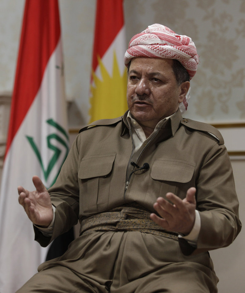 Photo -   Kurdish president Massoud Barzani speaks during an interview with the Associated Press in Salah al-Din resort, Irbil north of Baghdad, Iraq, Wednesday, April 25, 2012. Barzani told The Associated Press on Wednesday that one possible alternative is a political revolt. He says opposition parties have run out of patience after feeling sidelined in al-Maliki's Shiite-led government. (AP Photo/Khalid Mohammed)
