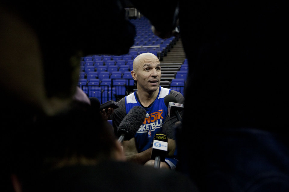 Photo - New York Knicks player Jason Kidd speaks as he is interviewed by members of the media before a team training session at the 02 arena in London, Wednesday, Jan. 16, 2013.  The Detroit Pistons are due to play a