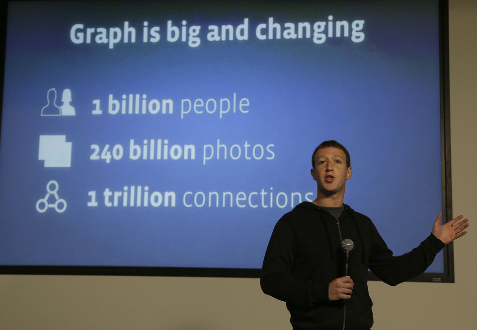 Facebook CEO Mark Zuckerberg speaks about Facebook Graph Search at a Facebook headquarters in Menlo Park, Calif., Tuesday, Jan. 15, 2013. Called �graph search,� the new service lets users search their social connections for information about their friends� interests, and for photos and places.  (AP Photo/Jeff Chiu)