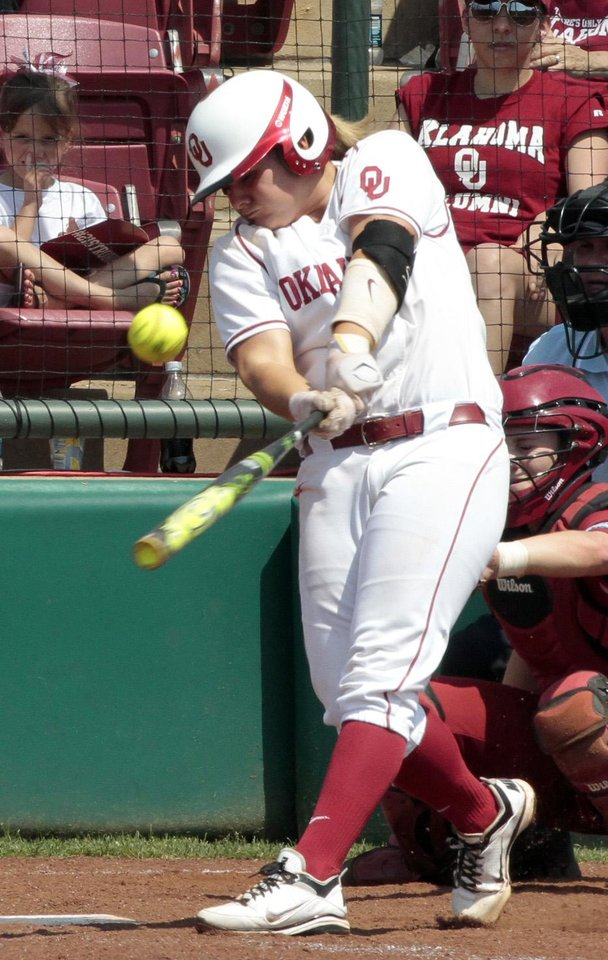 Georgia Casey hits in the Norman Regional of the 2013 NCAA Division I Softball Women's College World Series as the University of Oklahoma (OU) Sooners play the Arkansas Razorbacks at Marita Hines Field on Saturday, May 18, 2013  in Norman, Okla. Photo by Steve Sisney, The Oklahoman