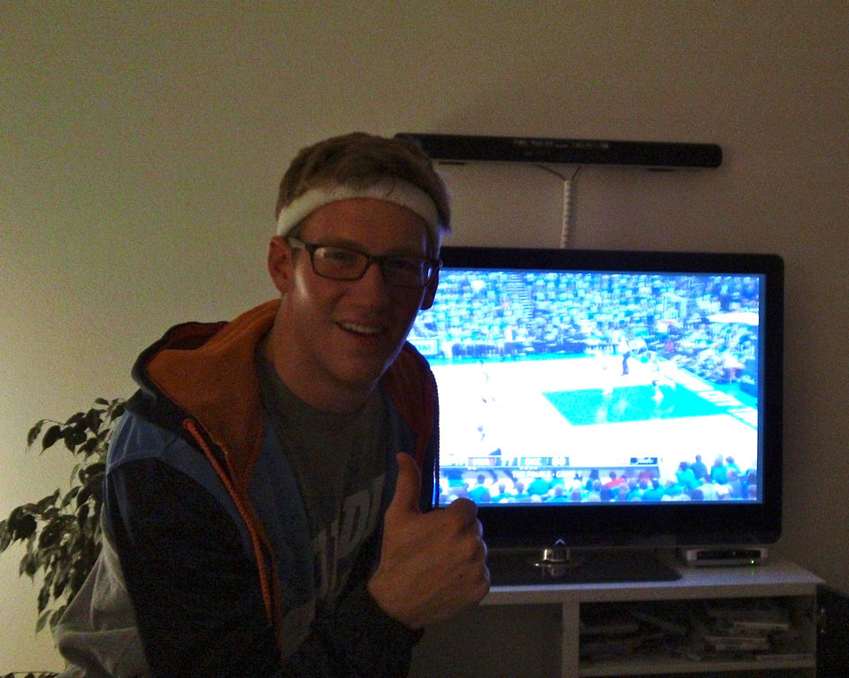 Photo - University of Central Oklahoma student Will Heckenkemper gets his Thunder fix during Game 1 of the NBA Finals in Olten, Switzerland. He likes watching the games live, which means tip off's usually between 2 and 3 a.m.