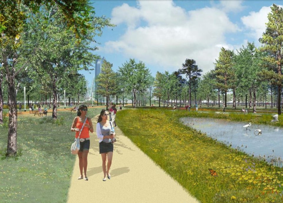 Photo - Trails and water features would be located throughtout the MAPS 3 Core to Shore park as shown in this rendering included in a proposed master plan unveiled Wednesday.  Hargreaves Associates
