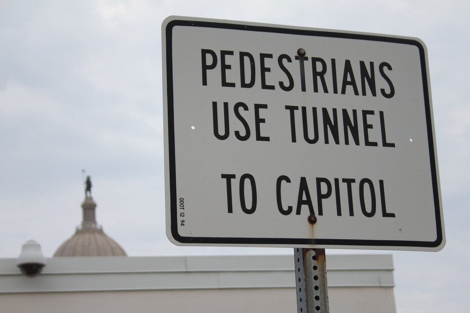 Photo - Visitors from parking lots east of the state Capitol are encouraged to use the tunnel under N Lincoln Boulevard.  BY MICHAEL MCNUTT - THE OKLAHOMAN