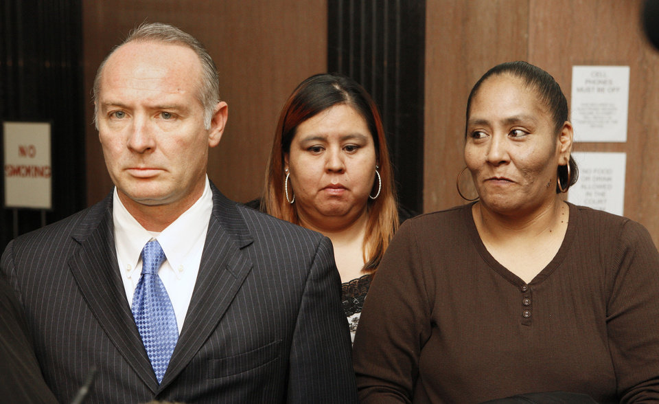 Attorney David Slane with Abbie Harjochee and Esterlene Harjochee, family members of stabbing victim Manuel Leon Sanchez, leave the courtroom Wednesday after the Billy Thompson hearing at the Oklahoma County Courthouse in Oklahoma City.  Photo by Paul B. Southerland, The Oklahoman <strong>PAUL B. SOUTHERLAND</strong>