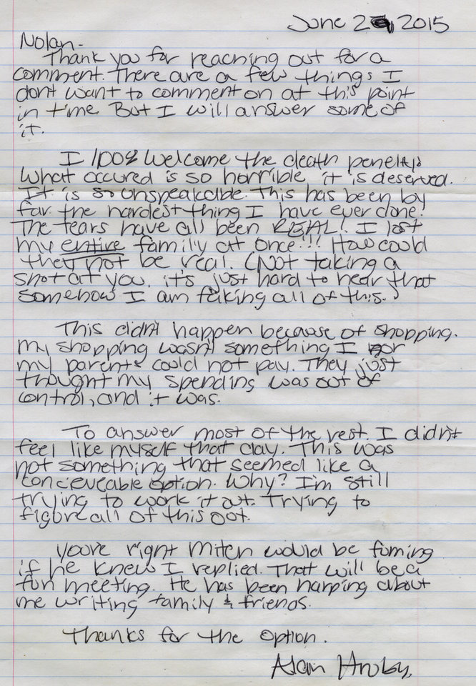 Photo - Pictured is the letter that triple-murder defendant Alan J. Hruby wrote to reporter Nolan Clay from prison.