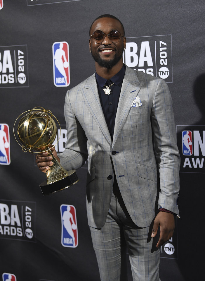 Photo - Kia NBA Sportsmanship Award winner Kemba Walker poses in the press room at the 2017 NBA Awards at Basketball City at Pier 36 on Monday, June 26, 2017, in New York. (Photo by Evan Agostini/Invision/AP)
