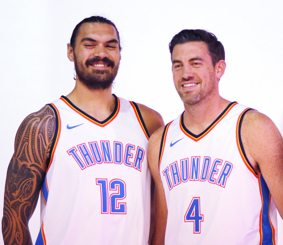 Photo - Steven Adams and Nick Collison during Thunder Media Day at the Chesapeake Arena in downtown Oklahoma City, Monday, September 25, 2017. Photo by Doug Hoke, The Oklahoman