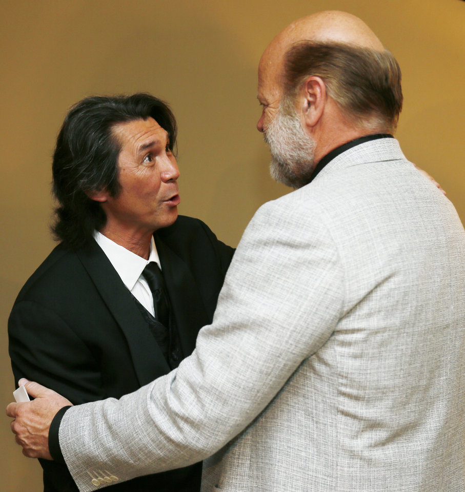 Lou Diamond Phillips, left, and Rex Linn talks during the press conference before the Western Heritage Awards at the National Cowboy & Western Heritage Museum in Oklahoma City, Saturday, April 20, 2013. Phillips is a co-emcee of the event. Photo by Nate Billings, The Oklahoman