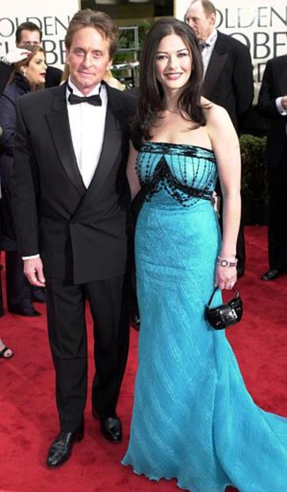 Actors Michael Douglas and Catherine Zeta-Jones arrive for the 58th Annual Golden Globe Awards in Beverly Hills, Calif., Sunday, Jan. 21, 2001. (AP Photo/Mark J. Terrill)