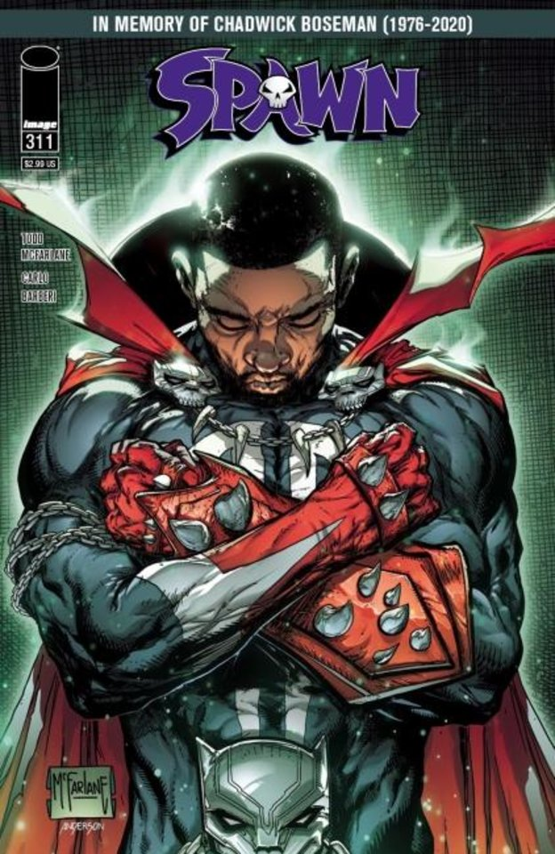 Photo -  Image Comics President Todd McFarlane plans a tribute cover to actor Chadwick Boseman on an upcoming issue of