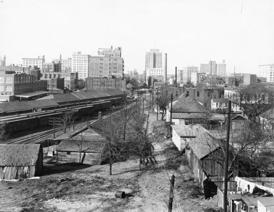 OKLAHOMA CITY / SKY LINE / OKLAHOMA:  Oklahoma City about 1927.  Skyline view from east Rock Island freight depot in foreground. Photo undated and unpublished.