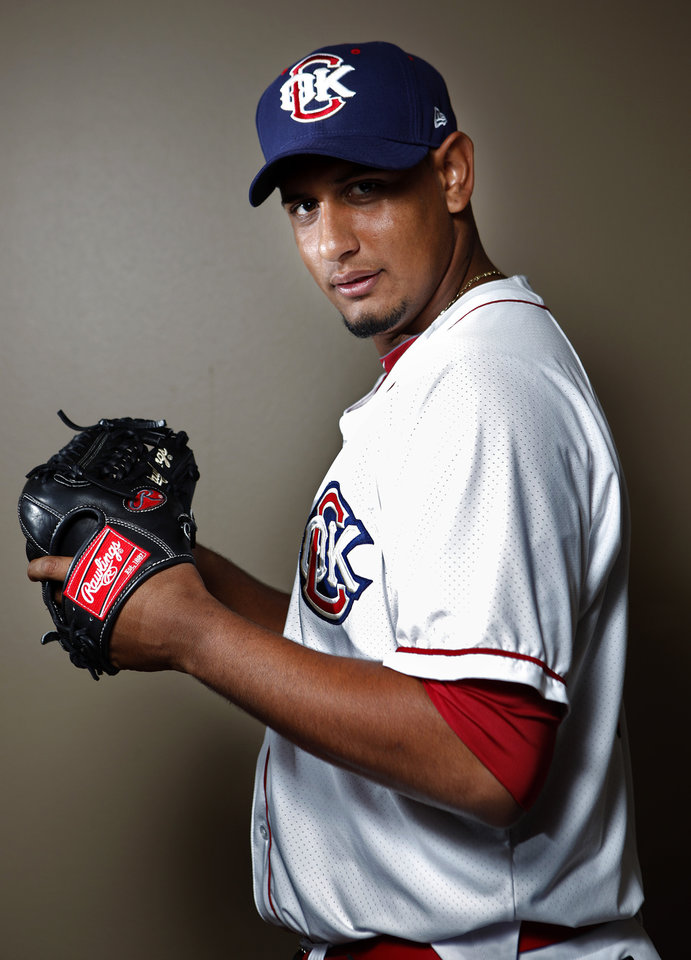 MINOR LEAGUE BASEBALL: Oklahoma City's Aneury Rodriguez poses for a photograph during media day for the Oklahoma City RedHawks in Oklahoma City, Tuesday, April 3, 2012. Photo by Sarah Phipps, The Oklahoman