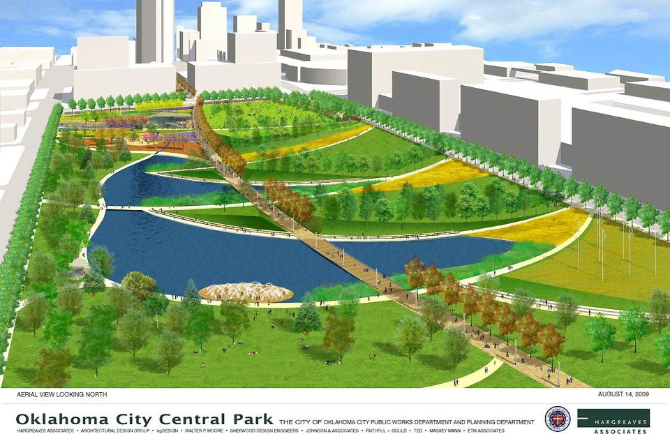 On Thursday,  Oklahoma City officials unveiled the details of the MAPS 3 plan. It will include a 70-acre downtown Central Park, shown above in this aerial rendering, looking north.  RENDERING PROVIDED BY CITY OF OKLAHOMA CITY