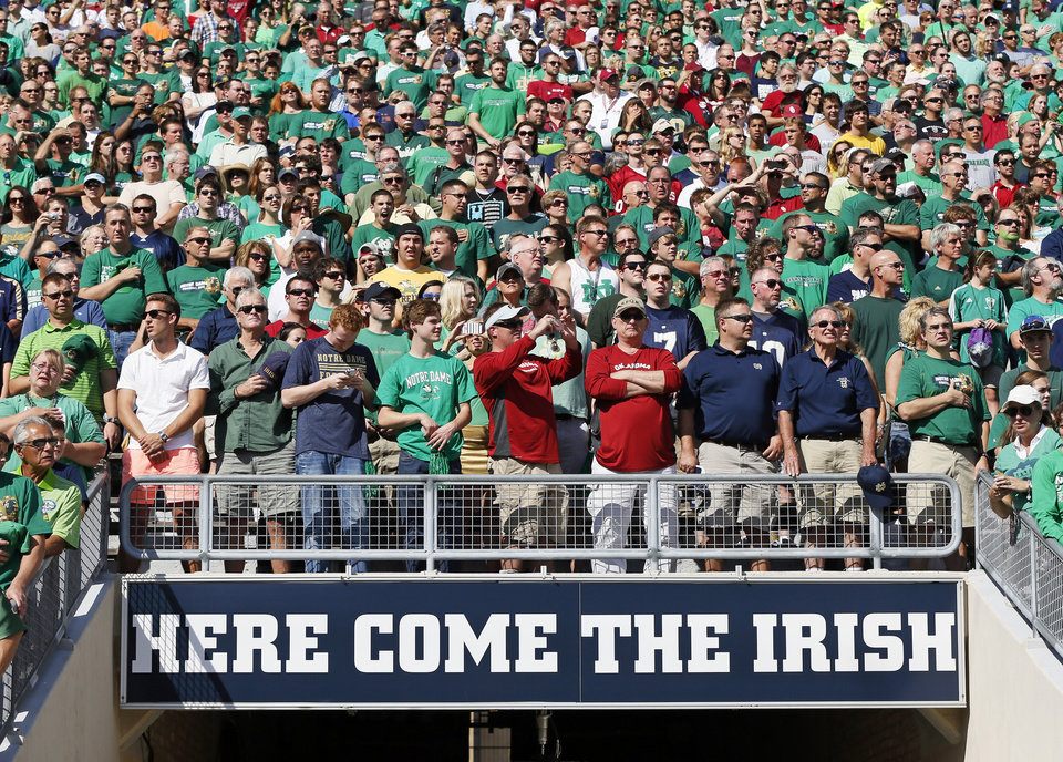 Fans wait for the teams to take the field before a college football game between the University of Oklahoma Sooners (OU) and the Notre Dame Fighting Irish at Notre Dame Stadium in South Bend, Ind., Saturday, Sept. 28, 2013. Photo by Nate Billings, The Oklahoman