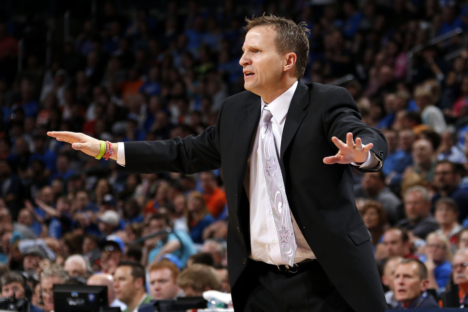 Oklahoma City coach Scott Brooks reacts during an NBA basketball game between the Oklahoma City Thunder and the Denver Nuggets at Chesapeake Energy Arena in Oklahoma City, Tuesday, March 19, 2013. Denver won 114-104. Photo by Bryan Terry, The Oklahoman