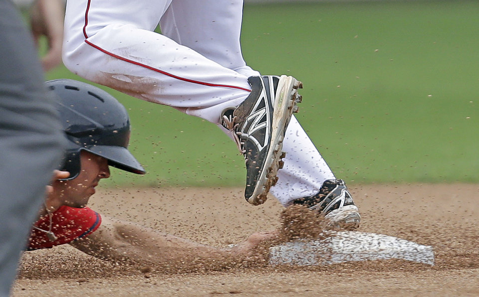 Photo - Minnesota Twins' Levi Michael is caught out trying to return to second base as Boston Red Sox second baseman Heiker Meneses covers on a double play off the bat of the Twins' Josh Willingham during the sixth inning of an exhibition baseball game in Fort Myers, Fla., Saturday, March 29, 2014. (AP Photo/Gerald Herbert)