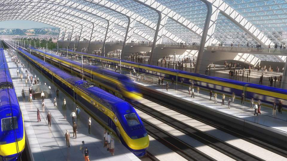 FILE - This image provided by the California High Speed Rail Authority shows an artist's rendering of a high-speed train station. Sacramento Superior Court Judge Timothy Frawley is expected to decide Friday, Nov. 16, 2012 whether to grant a preliminary injunction that would temporarily halt the project. Groups representing Central Vally farmers claim in the lawsuits that the California High Speed Rail Authority failed to conduct through environmental reviews and comply with public meeting laws.(AP Photo/California High Speed Rail Authority, File)