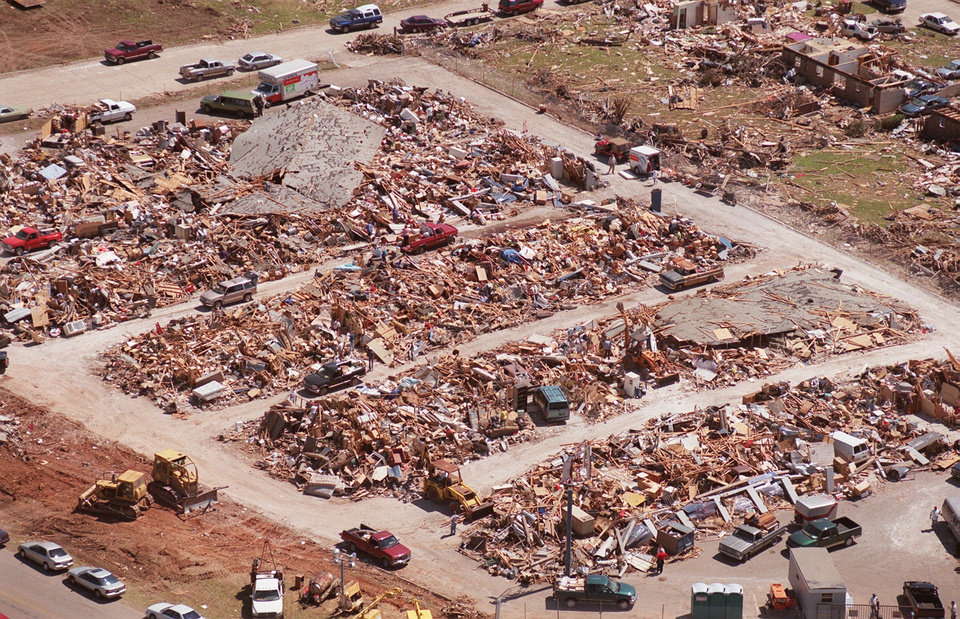 Tornado damage, aerial view: Storage units destroyed in Moore.