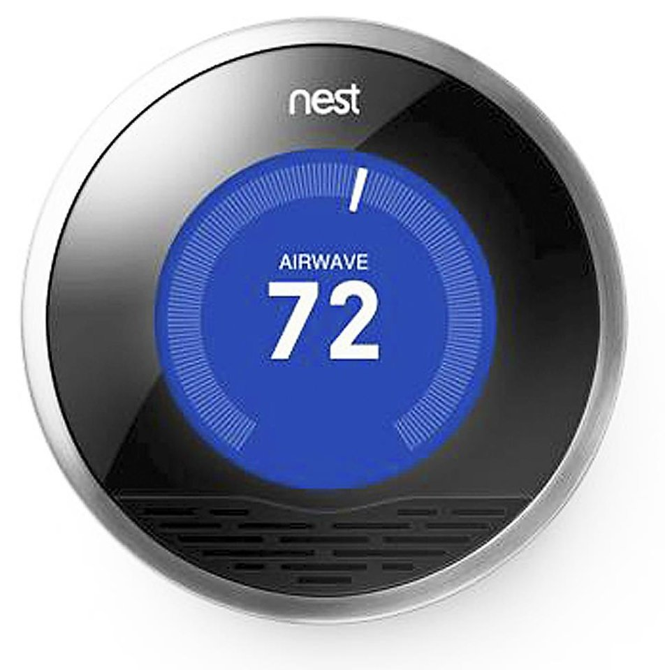 The Nest is a programmable thermostat that learns from your behaviors and can be changed by remote using a mobile applications. PHOTO PROVIDED.
