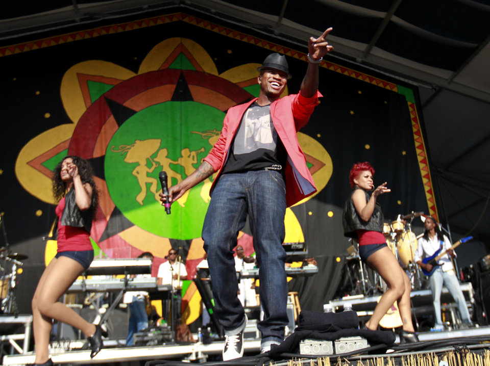 Ne-Yo performs at the New Orleans Jazz and Heritage Festival in New Orleans, Saturday, May 5, 2012. (AP Photo/Gerald Herbert)