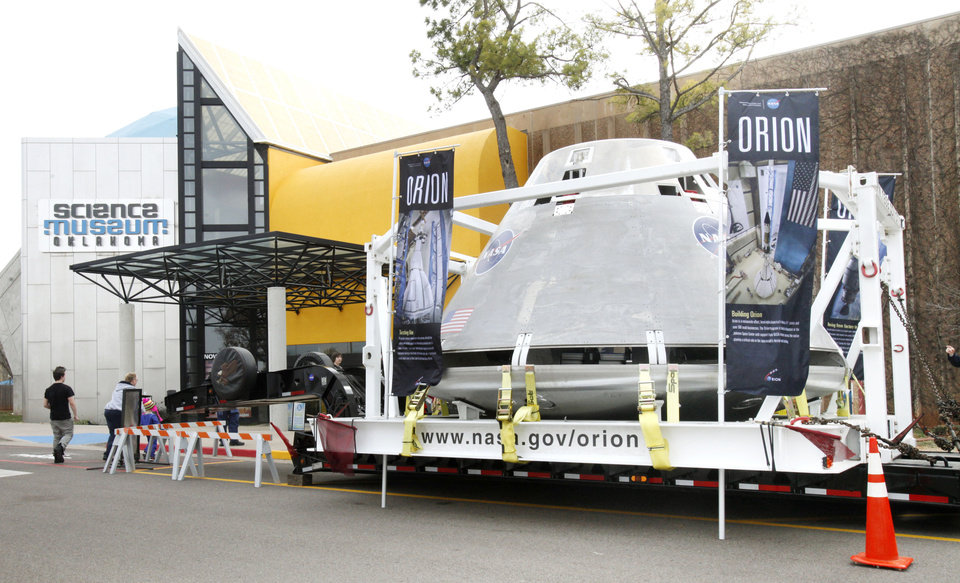 The test version of NASA's Orion spacecraft is on display in the parking lot of the Oklahoma Science Museum in Oklahoma City, OK, Tuesday, Jan. 24, 2012. By Paul Hellstern, The Oklahoman