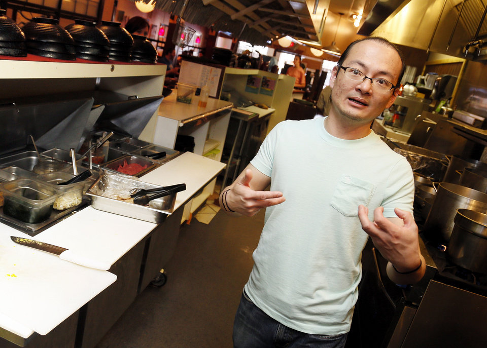 Dean Chen talks about how ramen noodle bowls are made at Main Street Noodle in Stillwater. <strong>NATE BILLINGS - NATE BILLINGS</strong>