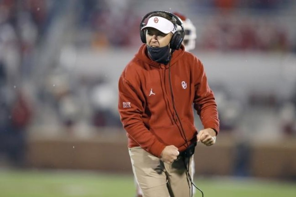 Photo -  Oklahoma coach Lincoln Riley celebrates during a bedlam college football game between the University of Oklahoma Sooners (OU) and the Oklahoma State Cowboys (OSU) at Gaylord Family-Oklahoma Memorial Stadium in Norman, Okla., Saturday, Nov. 21, 2020. Oklahoma won 41-13. [Bryan Terry/The Oklahoman]